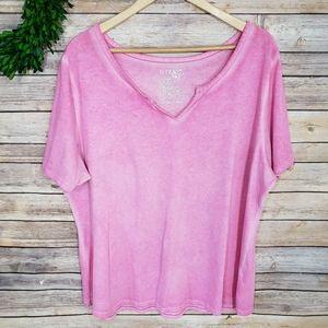 3/$20 Terra & Sky Pink Short Sleeve Basic Top 1X